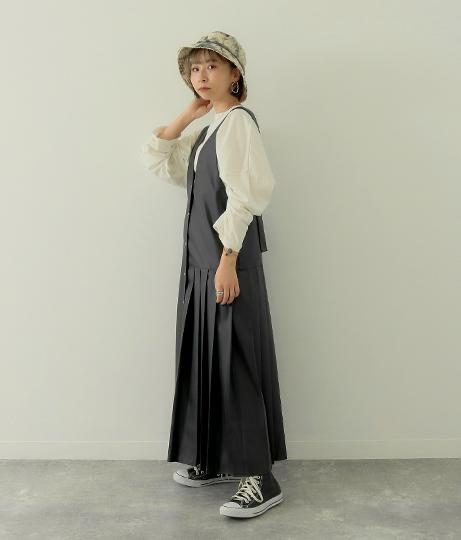 ヴィーガンレザー2WAYジャンスカ(ワンピース・ドレス/ロングワンピ) | Factor=