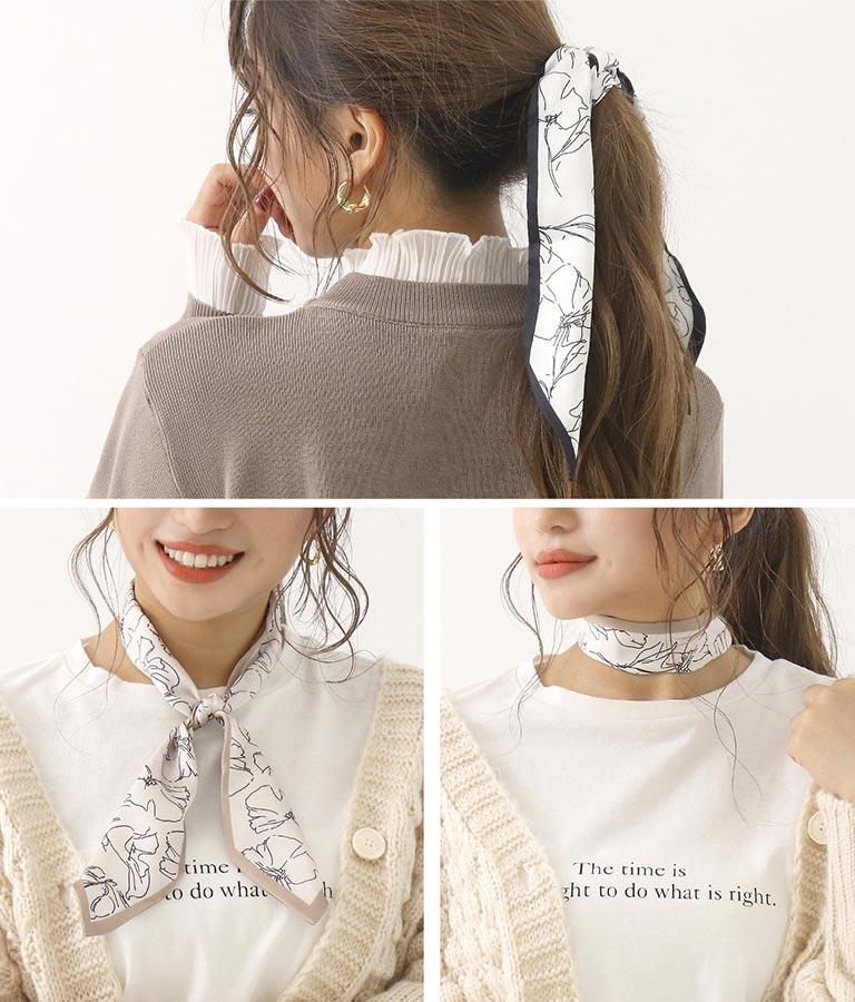手書き風花柄スカーフ