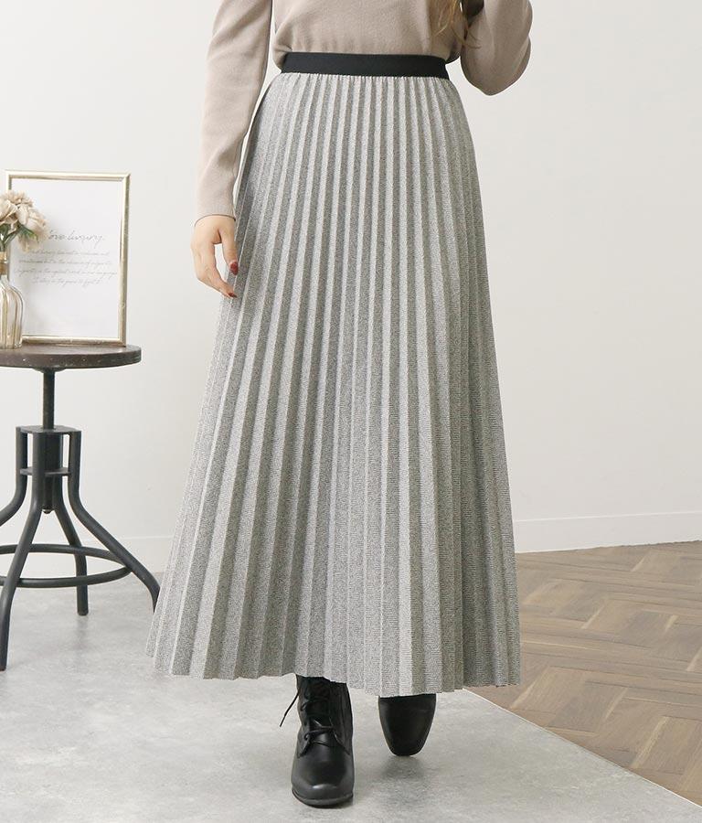 ミックスツイード風プリーツスカート