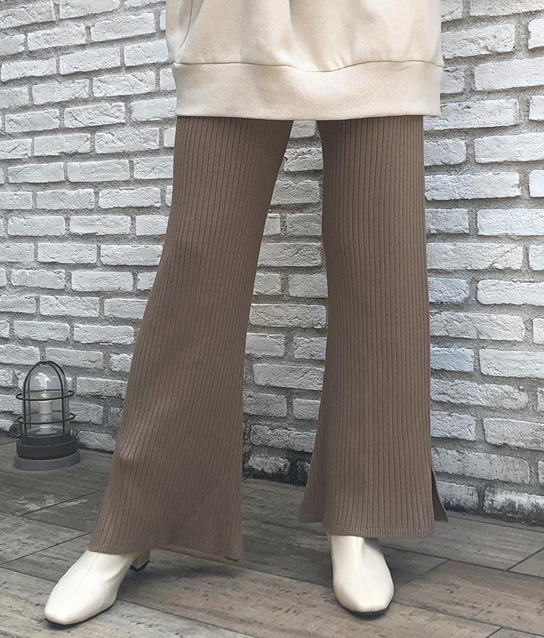 リブニット裾スリット入フレアパンツ