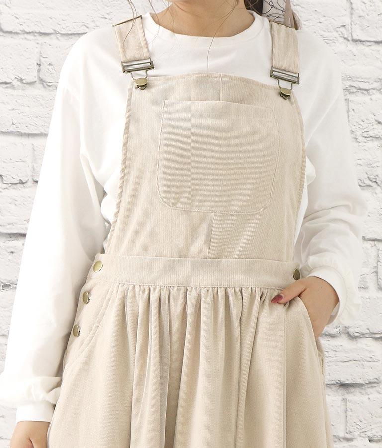 コーデュロイ×チュールデザインジャンパースカート(ワンピース・ドレス/ロングワンピ・サロペット/オールインワン) | CHILLE