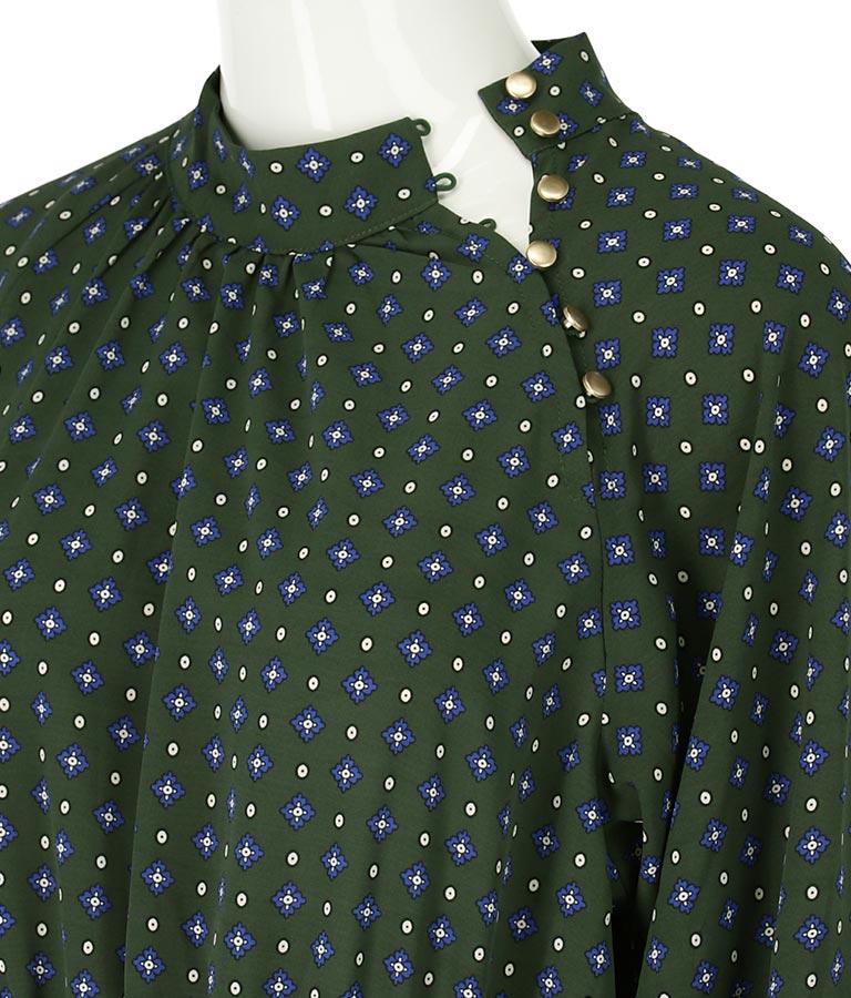 小紋柄サイドボタンデザインワンピース(ワンピース・ドレス/ロングワンピ) | Alluge