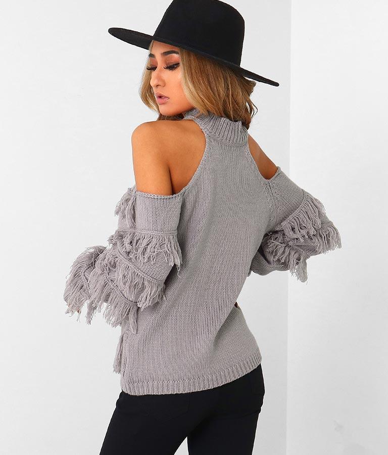 バイアスフリンジ肩あきニットトップス(トップス/ニット/セーター) | anap Latina