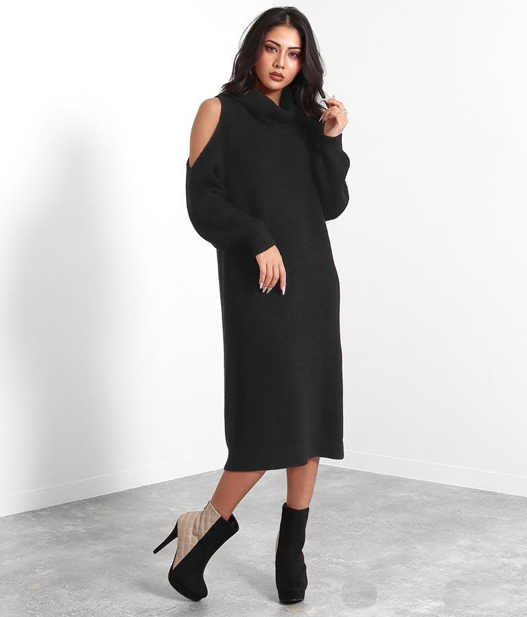 オフタートルざっくり編み肩あきワンピース(ワンピース・ドレス/ロングワンピ・ミディアムワンピ) | anap Latina