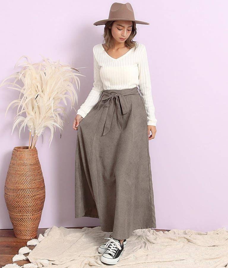 ツイル起毛ウエストリボンフレアスカート(ボトムス・パンツ /スカート) | anap mimpi