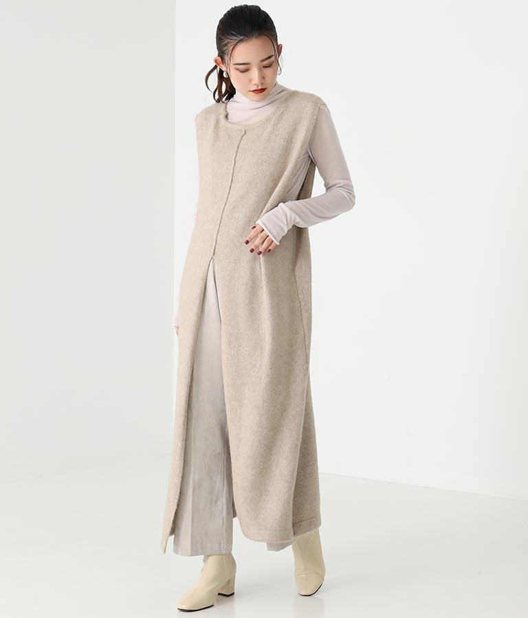 ブークレニット深Vネックノースリーブワンピース(ワンピース・ドレス/ロングワンピ) | Alluge