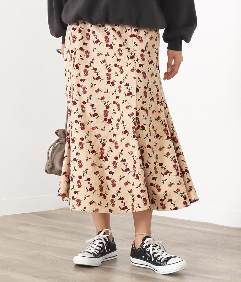コーデュロイ×花柄マーメイドスカート