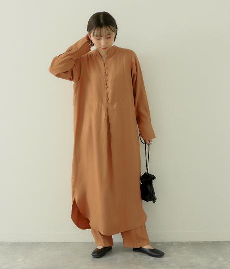 肩タックシャツワンピース(ワンピース・ドレス/ミディアムワンピ) | Factor=