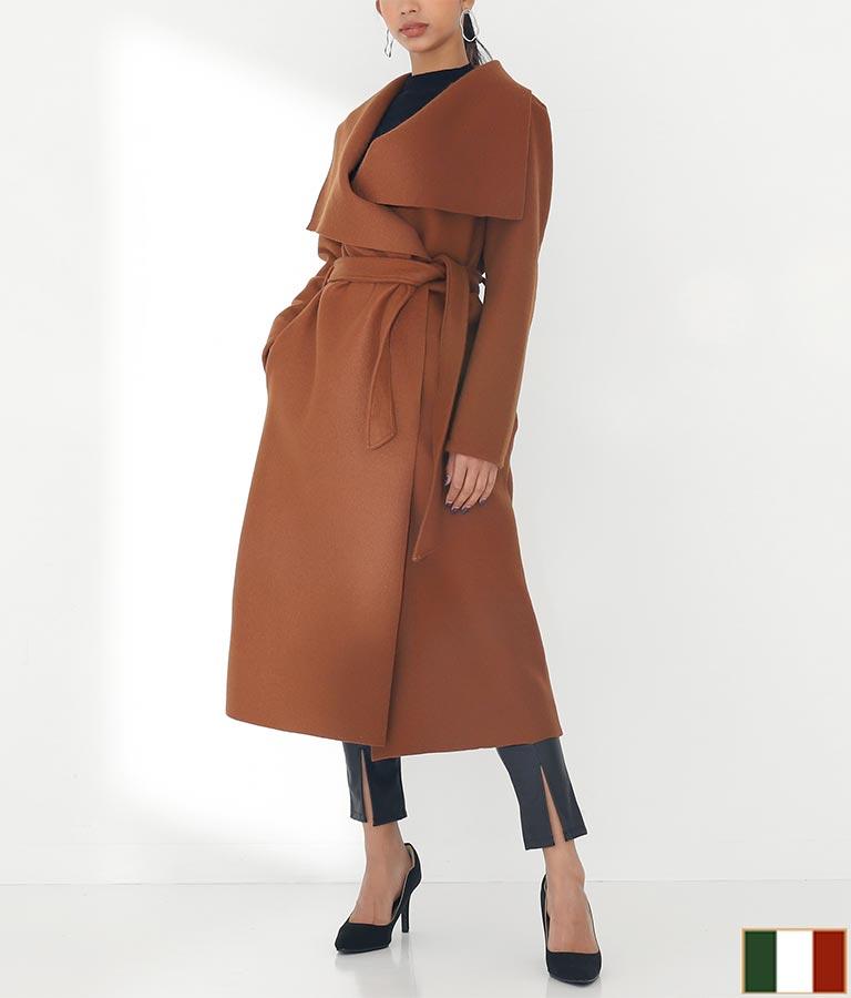 ビッグカラーデザインベルト付ウール混ロングコート