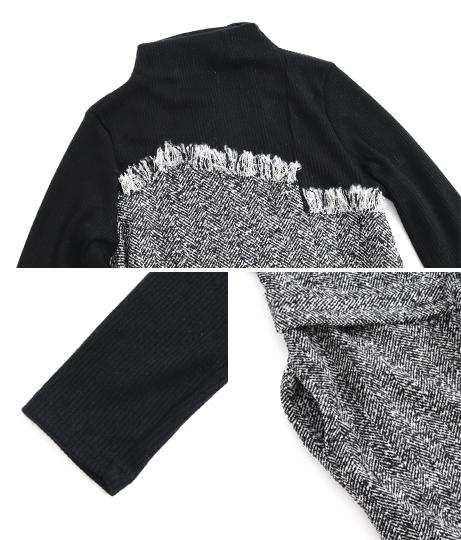 ハイネックニットツイードワンピース(ワンピース・ドレス/ミディアムワンピ) | AULI
