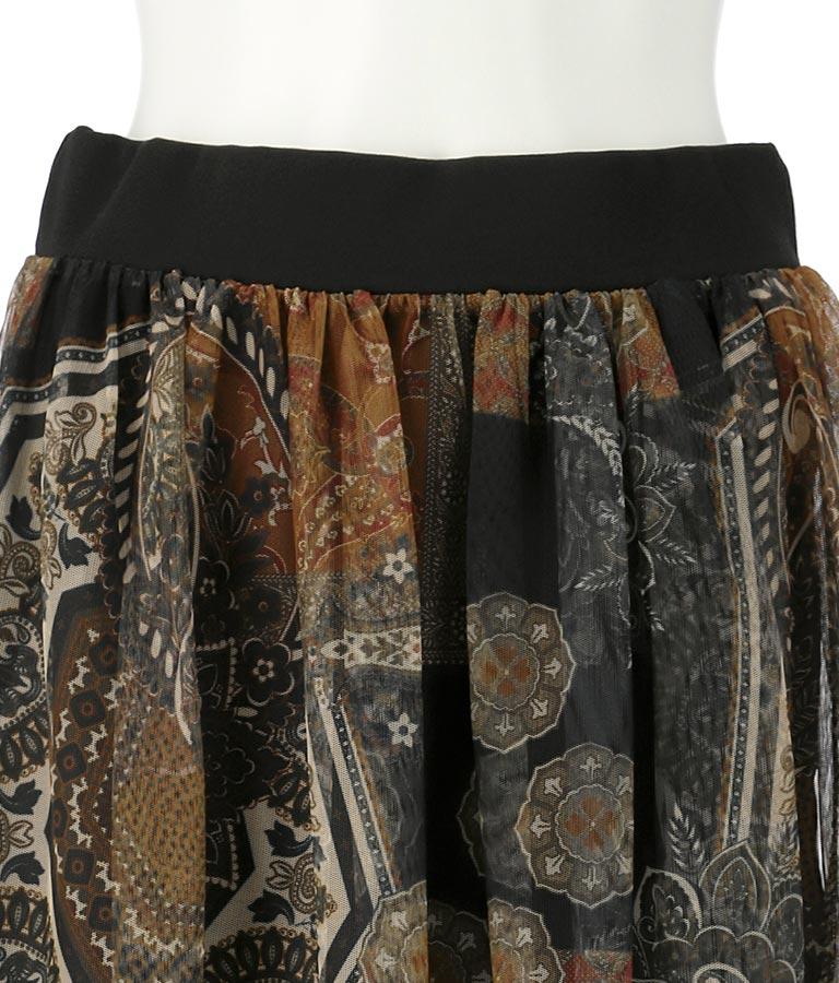 ブラックラインヘムペルシャ風柄チュールフレアスカート(ボトムス・パンツ /スカート) | Settimissimo