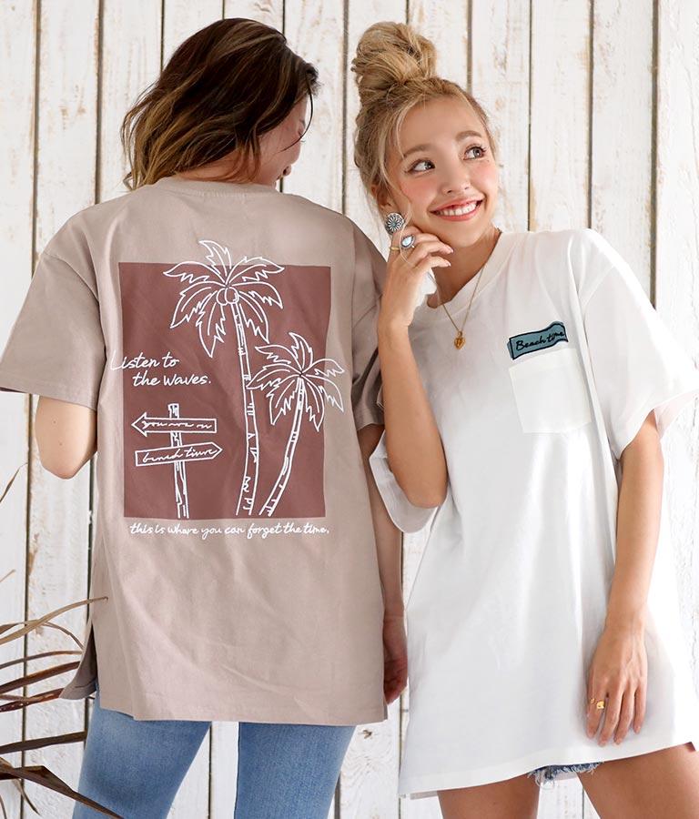 USAコットンパームツリー刺繍ビッグTシャツ(トップス/Tシャツ) | anap mimpi