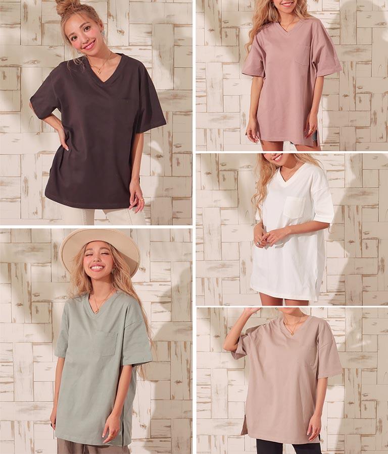 USAコットンVネックシンプルTシャツ(トップス/Tシャツ) | anap mimpi