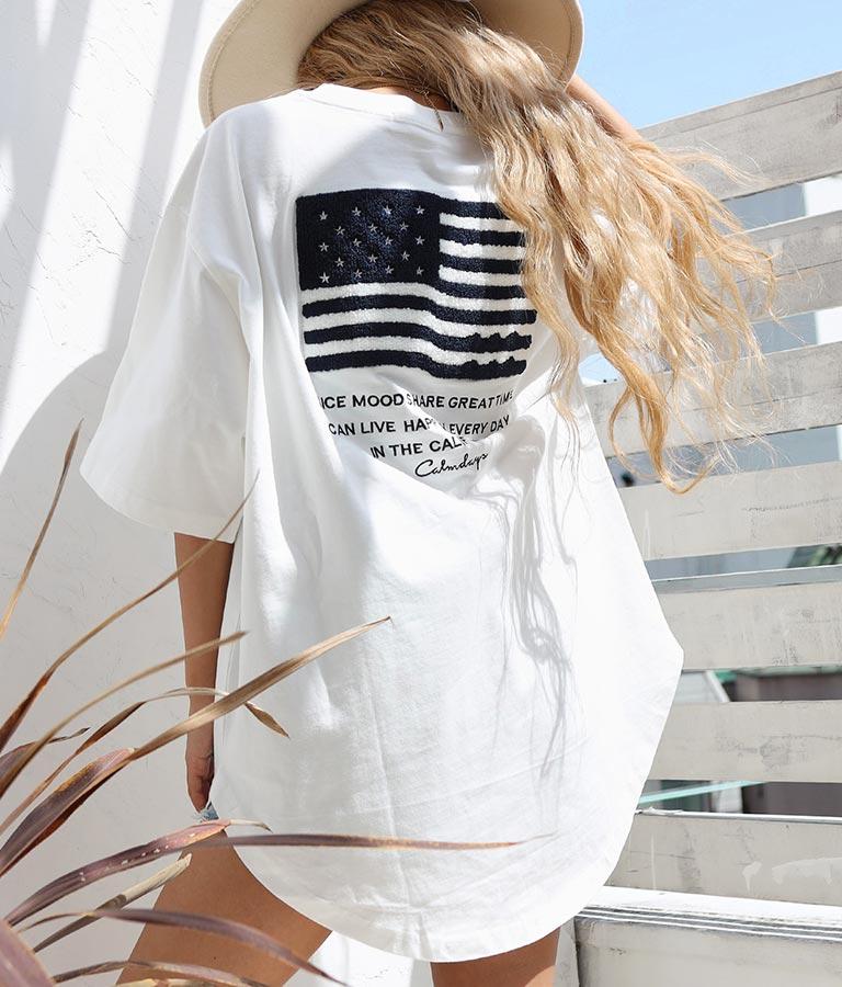 USAコットンサガラ刺繍ビッグTシャツ