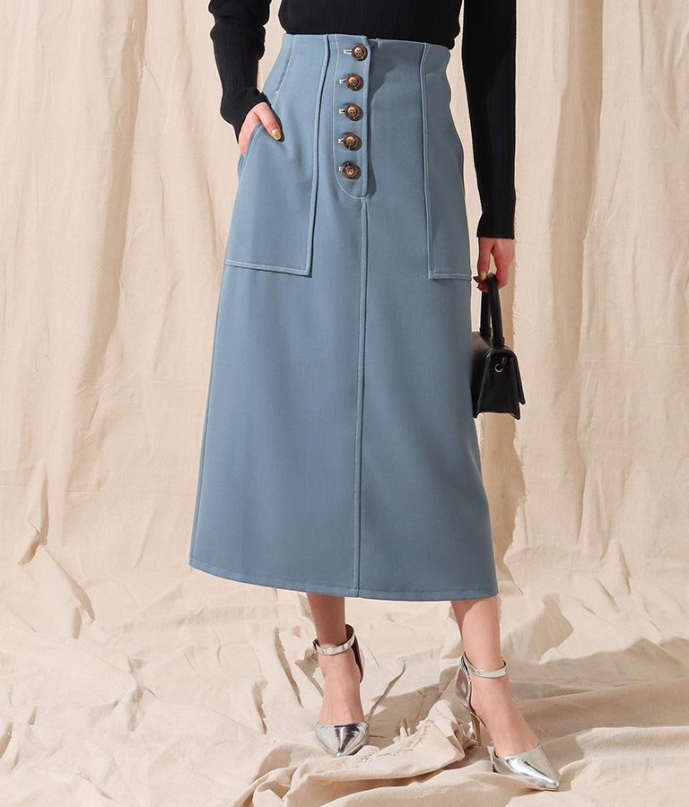 バイカラーステッチデザインスカート(ボトムス・パンツ /ミモレ丈スカート・スカート) | Alluge