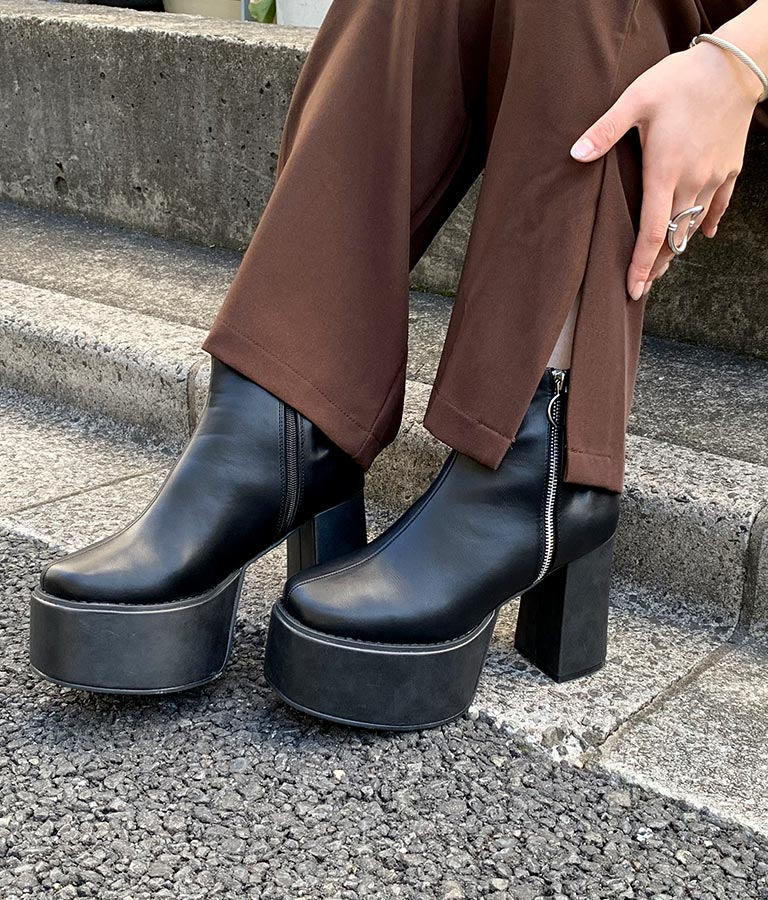 リングジップ厚底ブーツ