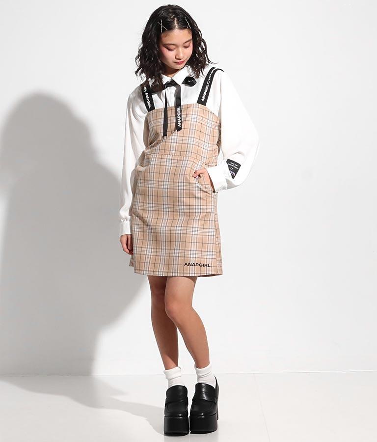 肩ロゴジャンパースカート(ワンピース・ドレス/ミディアムワンピ) | ANAP GiRL