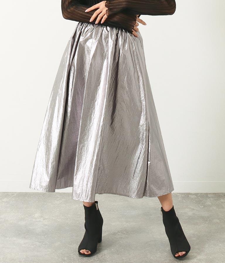 箔プリントギャザーデザインスカート