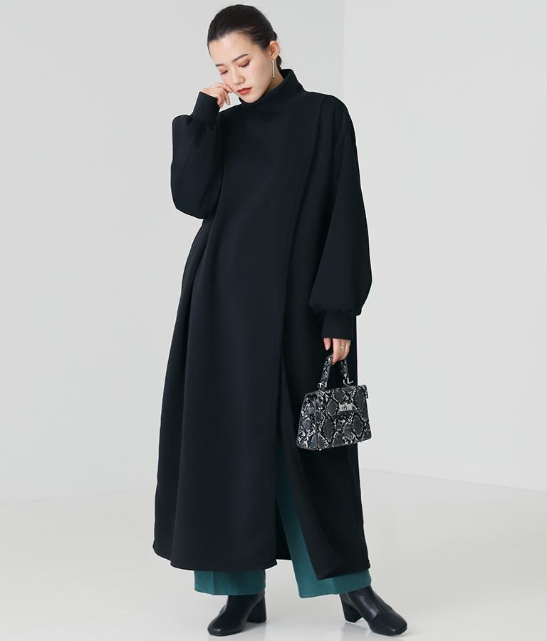 裏起毛ハイネックスリットワンピース(ワンピース・ドレス/ロングワンピ) | Alluge