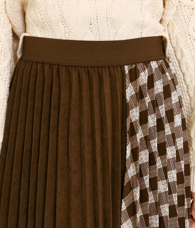 チェック×スウェードタッチ切替プリーツスカート(ボトムス・パンツ /スカート) | CHILLE