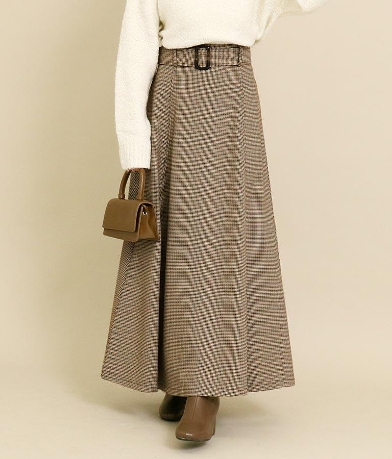 ガンクラブチェックベルト付きフレアスカート(ボトムス・パンツ /スカート) | CHILLE