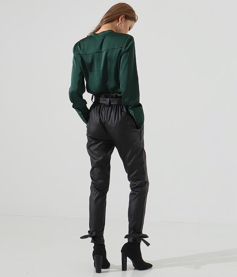 ウエスト&裾リボンベルトデザインテーパードパンツ(ボトムス・パンツ /ロングパンツ・テーパードパンツ)   Settimissimo