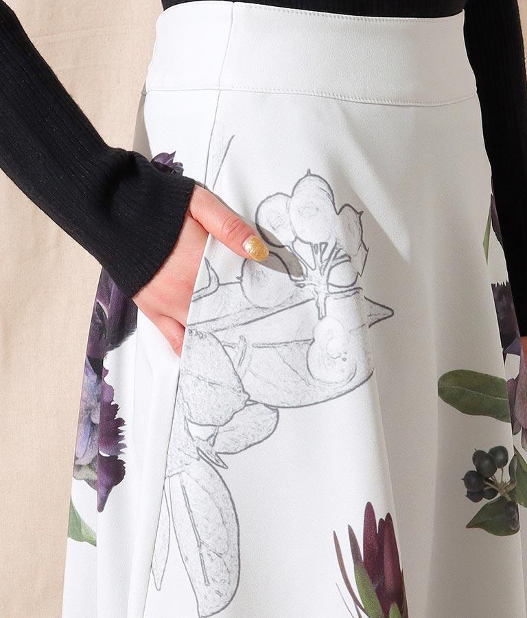 フラワー転写プリントフレアスカート(ボトムス・パンツ /スカート)   Alluge