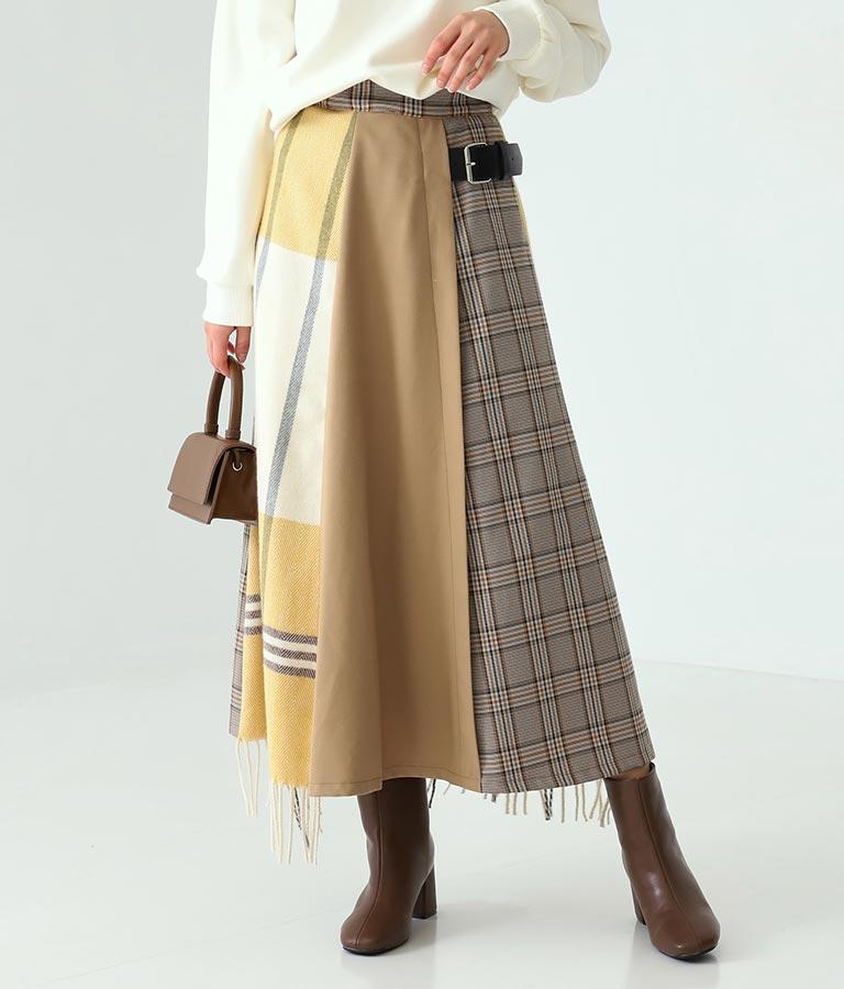 ストール使いキルト風スカート