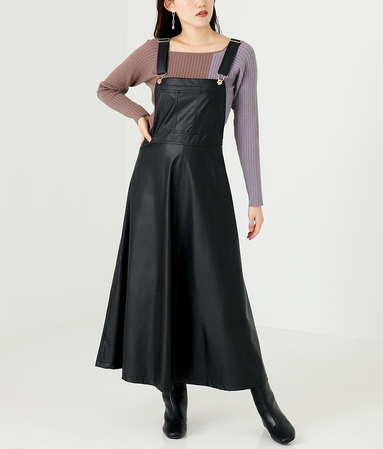 フェイクレザージャンパースカート