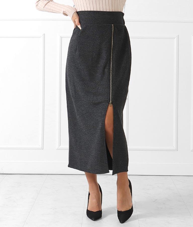 サイドジップスリットツイードタイトスカート
