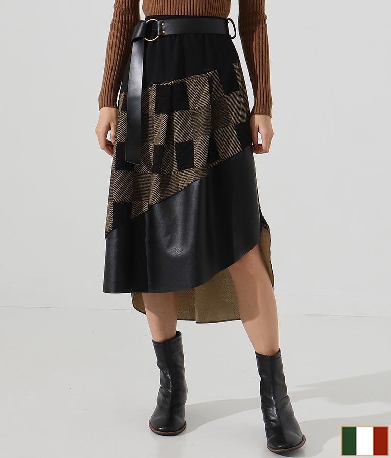 ベルト付異素材ミックスアシンメトリースカート