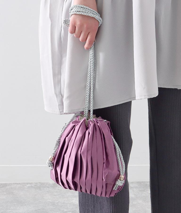 シルクサテンライク巾着バッグ(バッグ・鞄・小物/ハンドバッグ)   Alluge