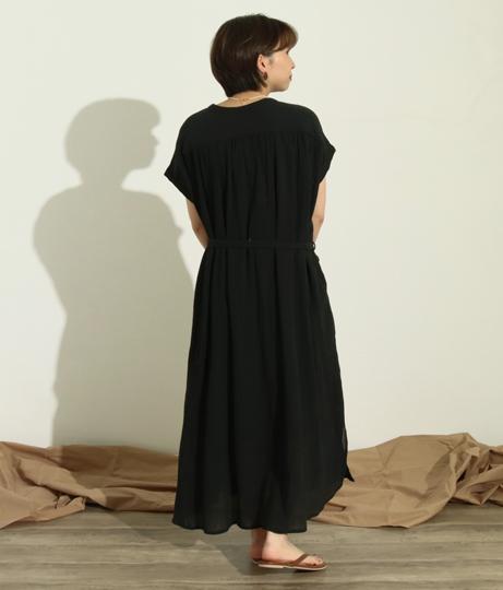 クレープボリュームシャツロングワンピース(ワンピース・ドレス/ロングワンピ) | Factor=