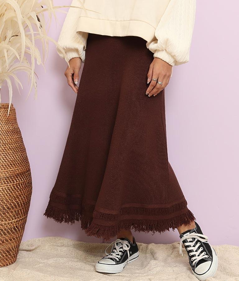 ニットフリンジロングスカート