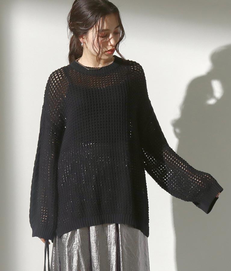 透かし編みワイドスリーブプルオーバー