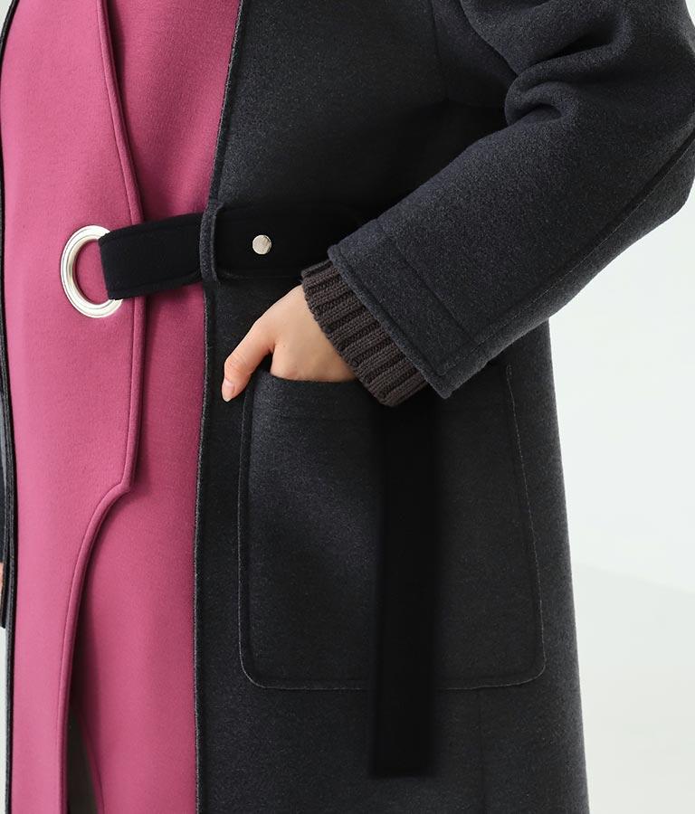 アイレットベルト配色ロングコート(アウター(コート・ジャケット) /コート (トレンチコート・ロングコート) ) | Alluge