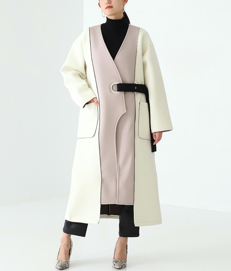アイレットベルト配色ロングコート
