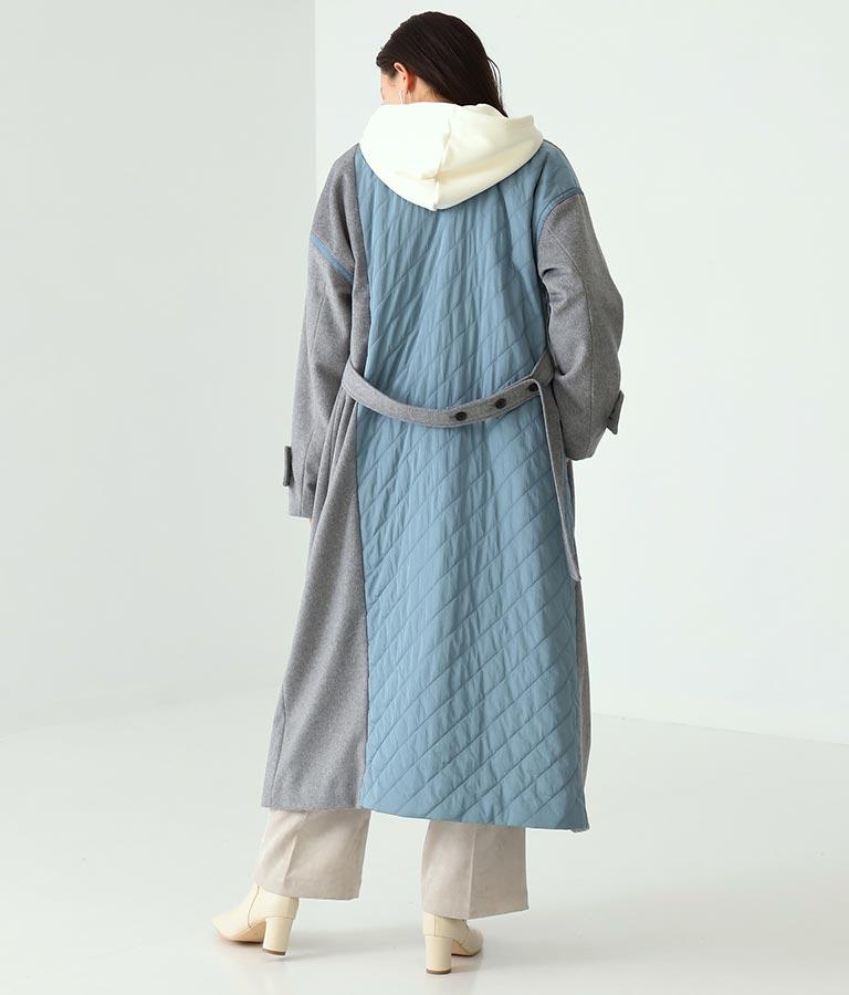 キルト切替ロングコート(アウター(コート・ジャケット) /コート (トレンチコート・ロングコート) ) | Alluge