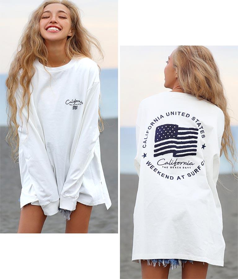国旗刺繍ロングTシャツ