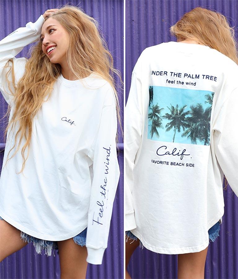 フォトプリントメッセージロングTシャツ