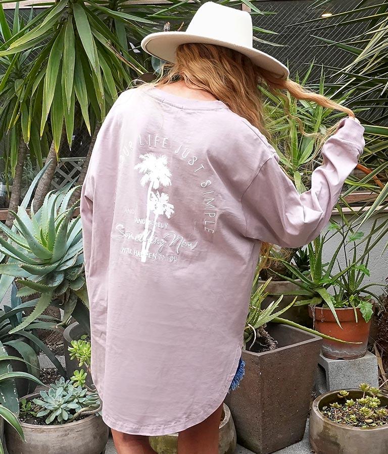 パームツリー刺繍ロングTシャツ(トップス/Tシャツ・ロングTシャツ)   anap mimpi