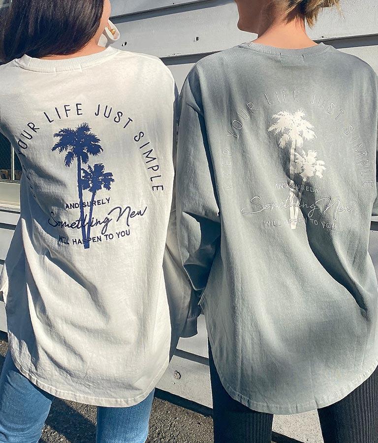 パームツリー刺繍ロングTシャツ