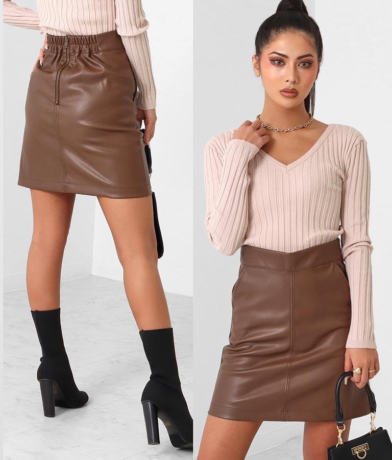 フェイクレザー台形スカート
