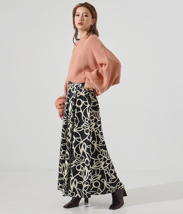 アラベスク風プリントサテンタックデザインロングスカート(ボトムス・パンツ /スカート)   Settimissimo
