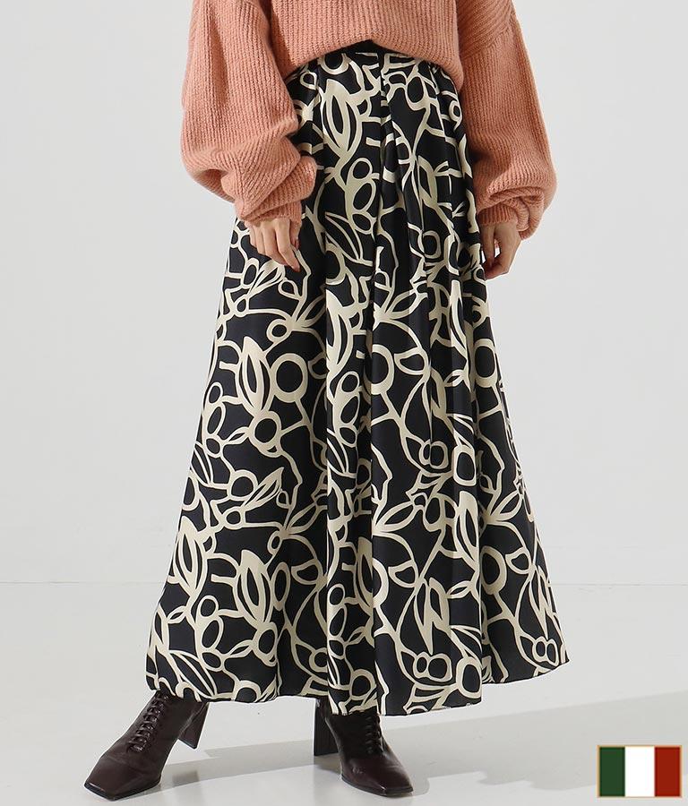 アラベスク風プリントサテンタックデザインロングスカート