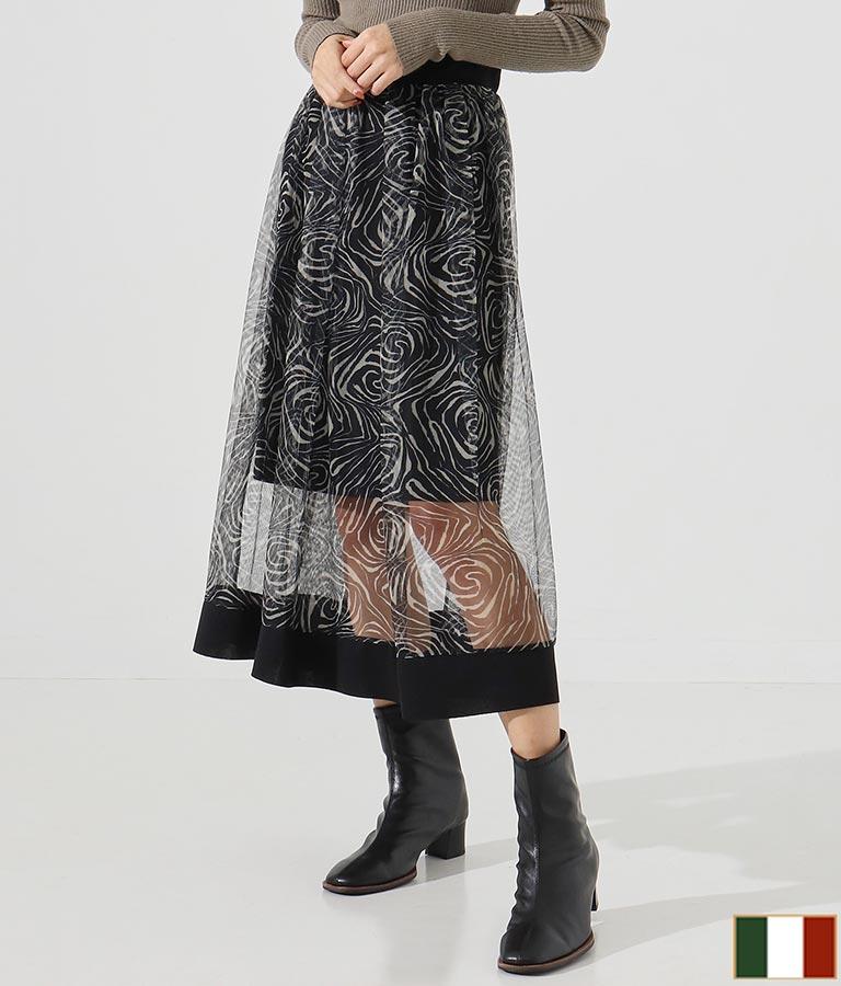 ブラックラインヘム渦巻き柄チュールフレアスカート