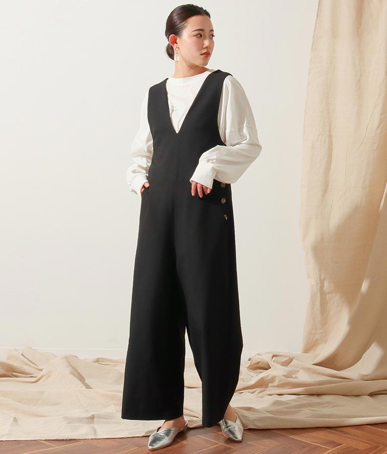 サイドボタンサロペット(ワンピース・ドレス/サロペット/オールインワン) | Alluge