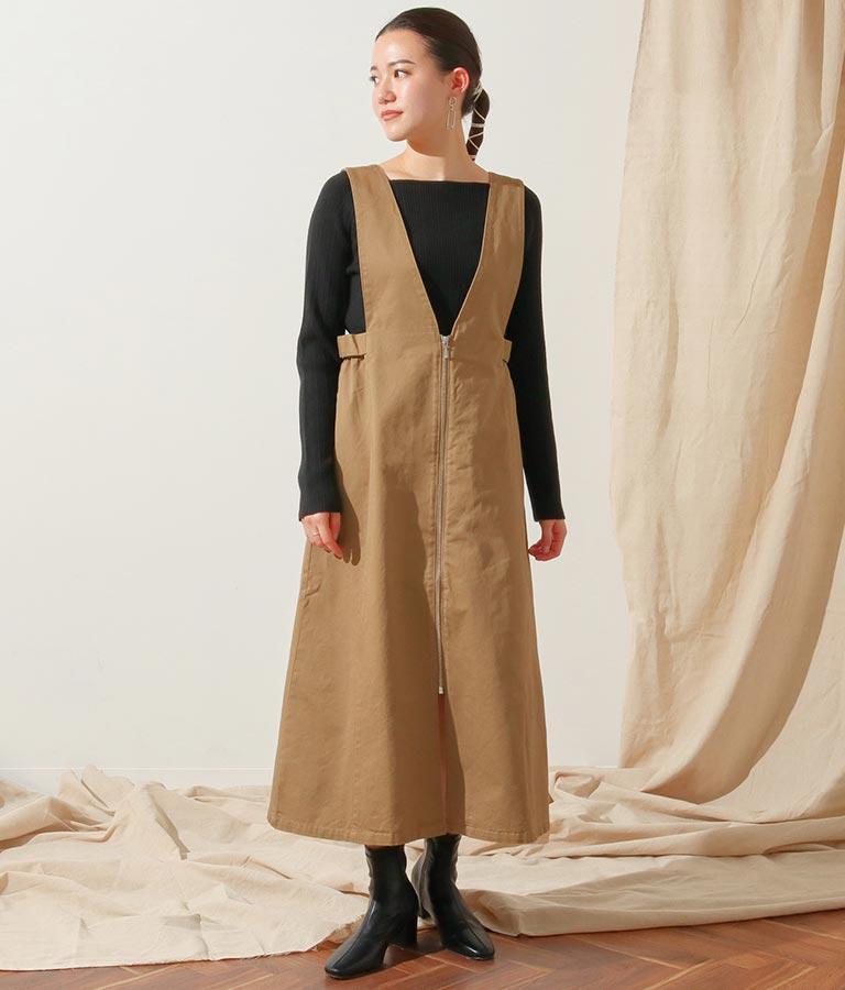 ウォッシュドハイカウントジャンパースカート(ワンピース・ドレス/ロングワンピ・サロペット/オールインワン) | Alluge