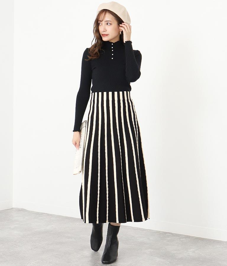 ストライプ柄フレアニットスカート(ボトムス・パンツ /スカート)   CHILLE