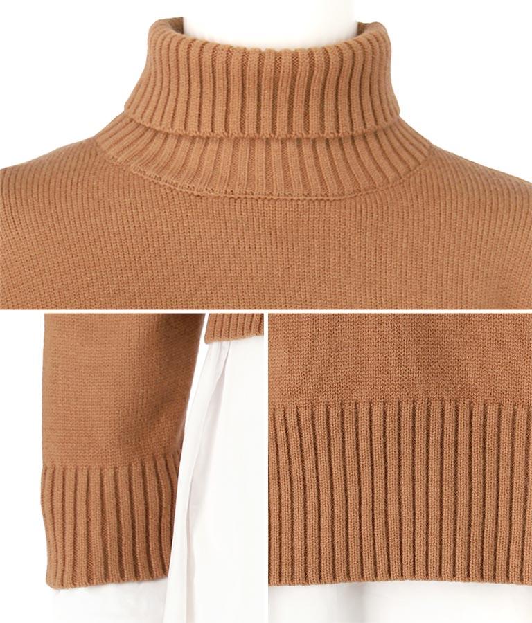 バックリボンニット×フレアシャツチュニックセット(トップス/ニット/セーター・シャツ・ブラウス) | CHILLE